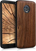 kwmobile Wooden Protective Cover for Motorola Moto G6 - Hard case with TPU Bumper Walnut in Dark Brown