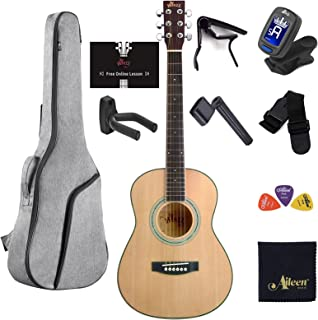 WINZZ 3/4 Spruce Acoustic Guitar for Beginners Students Kids with Online Lessons, Advanced Kit Right Handed, 36 Inches