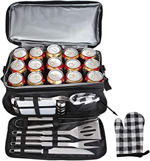 POLIGO 12PCS BBQ Grill Accessories Set with 15 Can Black Insulated Waterproof Cooler Bag - Camping Stainless Steel Grilling Tools Kit - Ideal Barbecue Utensils for Christmas Birthday Gifts Men Women