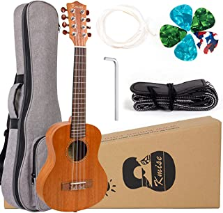 Kmise 8 String Tenor Ukulele Mahogany Wood with Picks Gig Bag Strap Replacement Strings