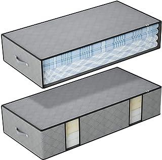 DIMJ Lot de 2 sacs de rangement sous le lit Grande capacité Organisateur de couettes avec fenêtre Transparent Sacs pour co...