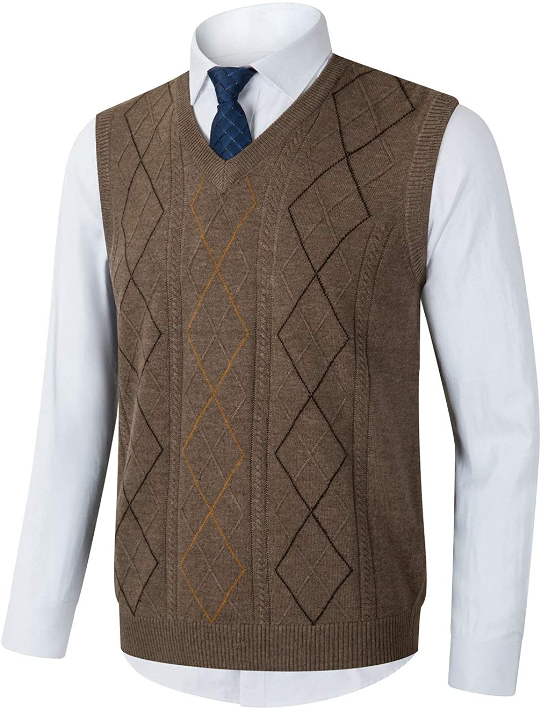 Hand knit vest Mens tank top with geometric jacquard
