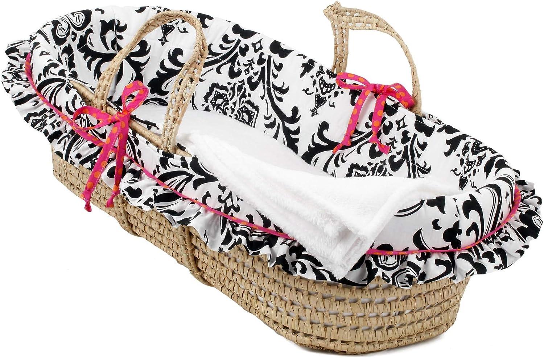 MISC Denver Mall Girly Basket Black OFFicial site Wicker White Pink