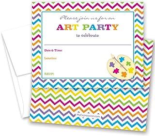 MyExpression.com 24 Rainbow Chevron Art Party Fill-in Birthday Party Invitations