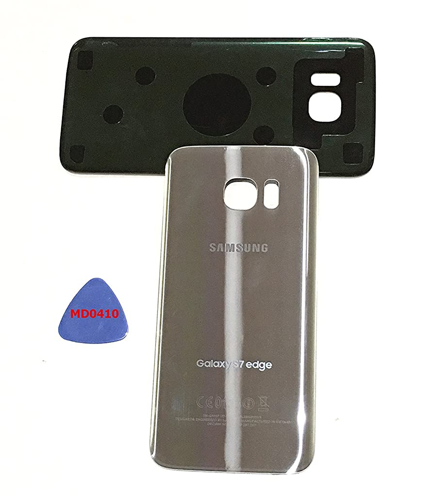 (md0410) Galaxy S7 EDGE OEM SILVER TITATNIUM Rear Back Glass Lens Battery Door Housing Cover + Adhesive Replacement For G935 G935F G935A G935V G935P G935T with adhesive and opening tool