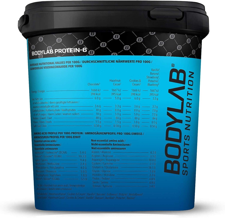 Protein-6 de Bodylab24 2 kg   Polvo de proteína multicomponente con 6 fuentes de proteína   Arándano