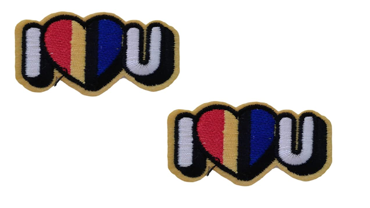 2 pieces I Love You Applique Embroidered Motif Fabric Valentine Words Decal 2.1 x 2 inches (5.3 x 5 cm)