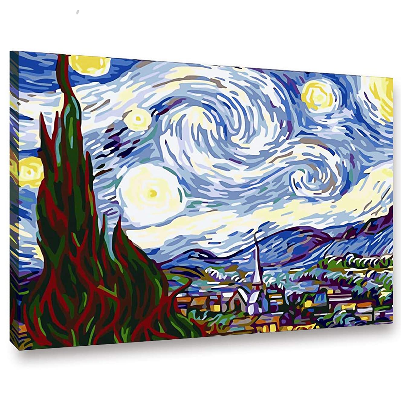 SHUAXIN Paint by Numbers for Adults - DIY Full Set of Assorted Color Oil Painting Kit and Brush Accessories - Van Gogh The Starry Night 16
