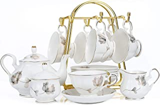 15-Piece Porcelain Ceramic Coffee Tea Gift Sets, Cups& Saucer Service for 6, Teapot, Sugar Bowl and Creamer Pitcher.