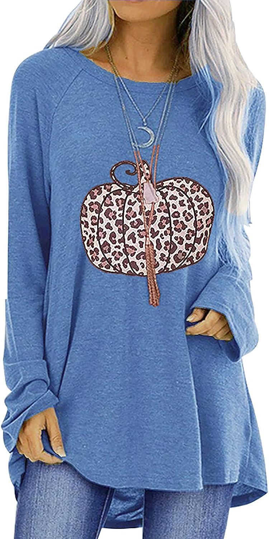 Oversized Tee Shirts for Women Long Sleeve Holloween Printing Blouse Shirts Fashion Loose Fit Tops Sweatshirt