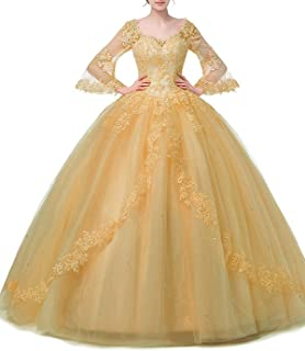 Lace Appliques Beaded Evening Ball Gown Long Sleeve A-Line Quinceanera Dress Sky Blue
