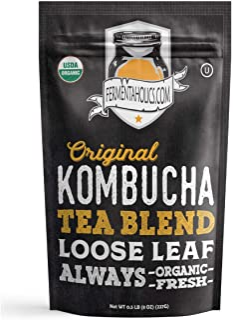 Fermentaholics USDA Certified Organic Kombucha Tea Blend 8 oz   Makes 22 Gallons   Kosher Certified   100% Organic Black a...