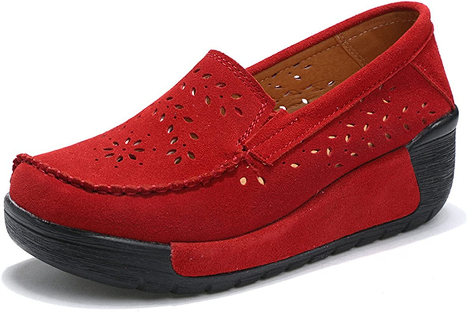 Gracosy Women's Platform Leather shoes, Slip On Loafers Casual Cow Leather Wide Low Top Wedge Comfort shoes