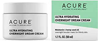 ACURE Ultra Hydrating Overnight Dream Cream | 100% Vegan | Intense Moisture For Super Thirsty Skin| Melatonin & Hemp Seed Oil | 1.7 Fl Ounce