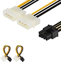 J&D [2-Pack] 8 Pin PCIe to 2 x 4 Pin LP4 Molex Power Cable Adapter – 6 inch / 15 cm, Black