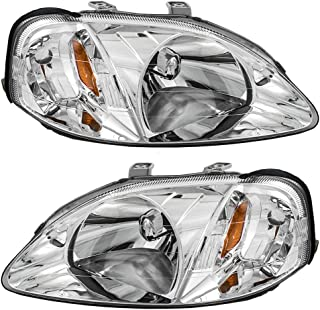 Headlights Headlamps Driver and Passenger Replacements for 99-00 Honda Civic 33151S01A02 33101S01A02