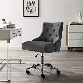 Modway Regent Tufted Button Upholstered Fabric Swivel Office Chair with Nailhead Trim in Gray