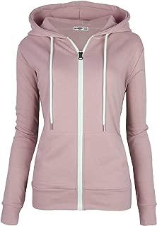 Women's Slim Fit Casual Full-Zip Hooded Lightweight Long Sleeve Sweatshirt