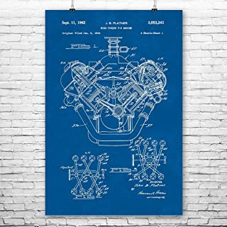 Patent Earth Chrysler 426 Hemi V8 Engine Poster Print, Mechanic Gift, Car Lover, Gearhead, Repair Shop, Automotive Engineer Blueprint (8