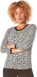 Roman Originals - Jersey de manga 3/4 con estampado de leopardo animal para mujer