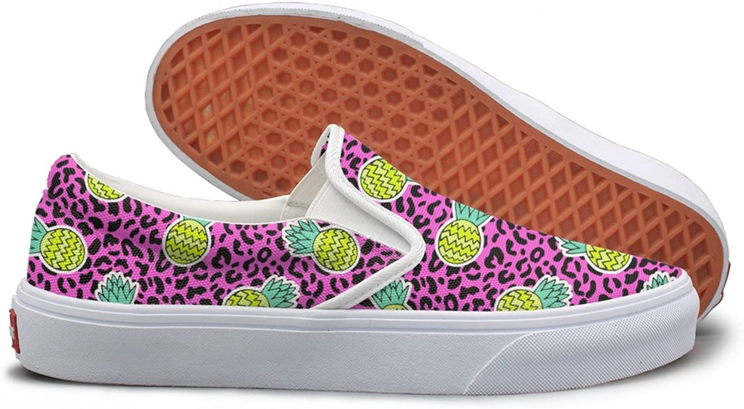 Lalige Tropical Fruits Pineapple Pink Background Women Stylish Canvas Slip-ons Sneakers shoes