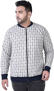 JOHN PRIDE Men's Plus Size Mandarin Collar White Front-Open Sweatshirt