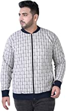 JOHN PRIDE Men's Plus Size Mandarin Collar White Front-Open Sweatshirt
