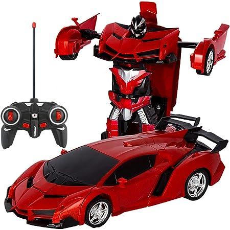 電動RCカー おもちゃの車 リモコンカー ラジコンカー ロボットに変換することができます 非常にクールなデザイン (レッド)