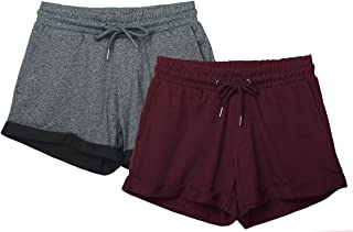icyzone Workout Lounge Shorts for Women - Athletic Running Jogging Cotton Sweat Shorts(Pack of 2)