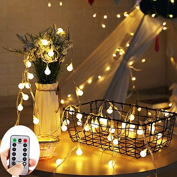 Battery Operated String Lights 33Ft 10M 100 LED Outdoor Globe Fairy Lights 8 Modes Waterproof Ball String Light With Remote Control For Christmas Garden Party Wedding Indoor Bedroom And Patio