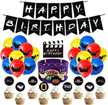 White Friends Birthday Party Theme Decorations Supplies Set TV Show Happy Birthday Banner Cake Cupcake Topper Balloons Par...