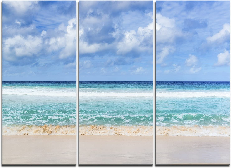 ランキングTOP5 Designart 捧呈 Tranquil Beach Under Canv Clouds-Modern Seascape White
