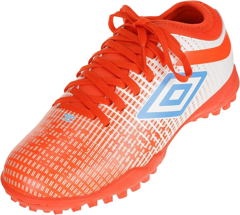 Umbro Big Boys Youth Velocita IV Club Turf Soccer Shoes, White/Ibizi Blue/Cherry Tomato