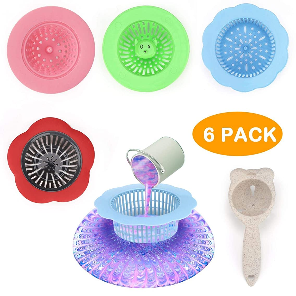 Pouring Painting Strainer Supplies Silicone Pour Paint Strainer Acrylic Unique Patters and Designs for Creating, 6 Pieces