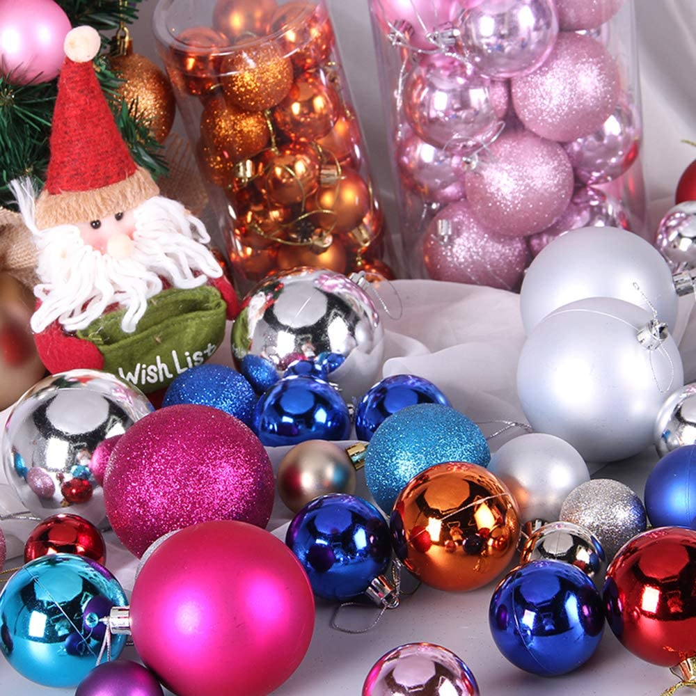 Tree Ornaments Hooks Included Engmoo 24ct Christmas Ball Ornaments 2.36 Small Shatterproof Christmas Decorations Tree Balls for Holiday Wedding Party Decoration