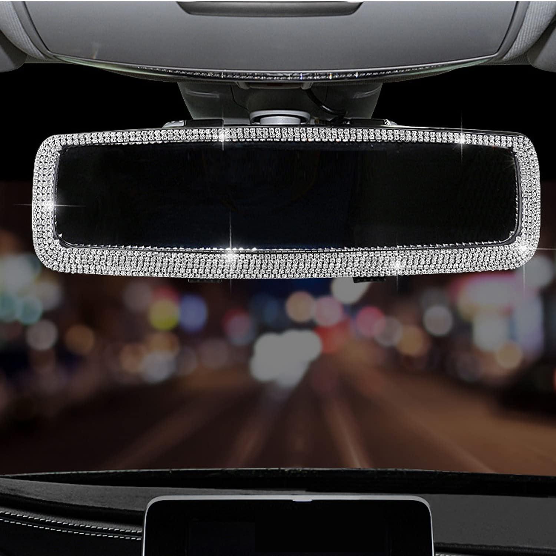 Bling Rhinestone Car Rear View Mirror, Car Rear View Mirror with Crystal Diamonds Bling Rhinestones Car Rear View Mirror for Women,Car Interior Trim. (Sliver)