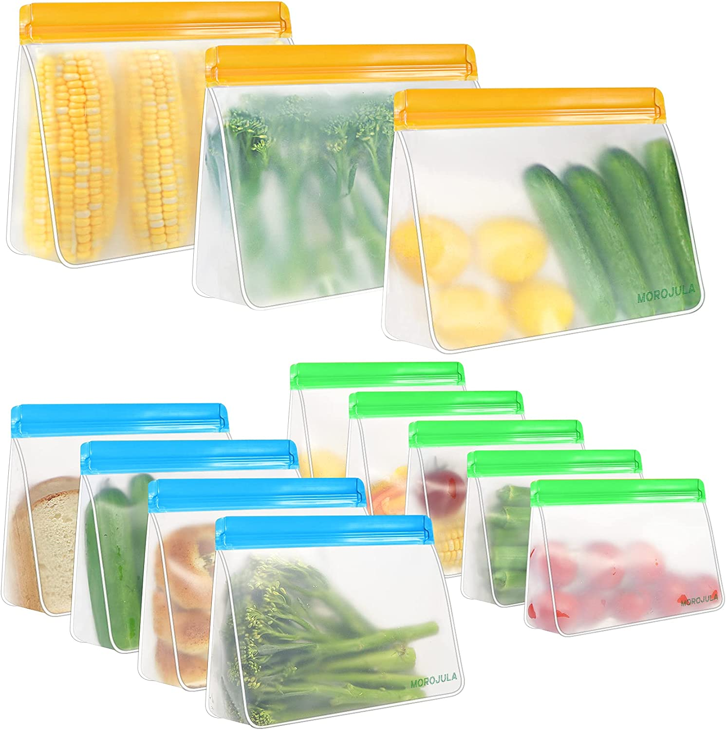 Reusable Storage Bags, 12 Pack Stand-Up Reusable Freezer Bags(3 Gallon Bags + 5 Sandwich Bags + 4 Snack Bags), Extra Large Space Food Storage Bags for Sandwich, Fruits, Snack, and Make-up