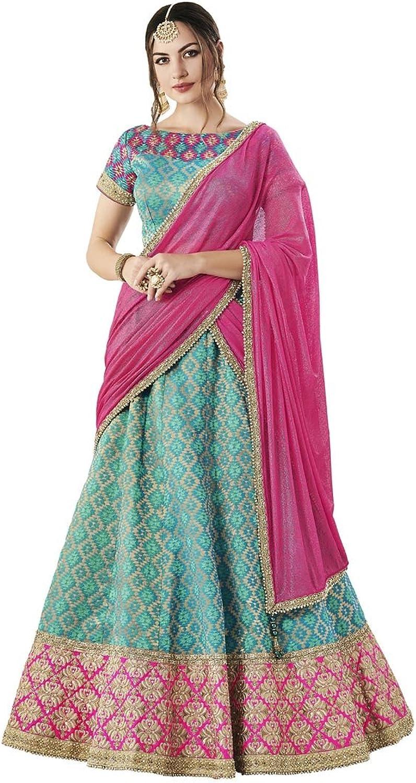 DesiButik's Wedding Wear Ravishing bluee Jacquard Silk Lehenga Choli with Dupatta