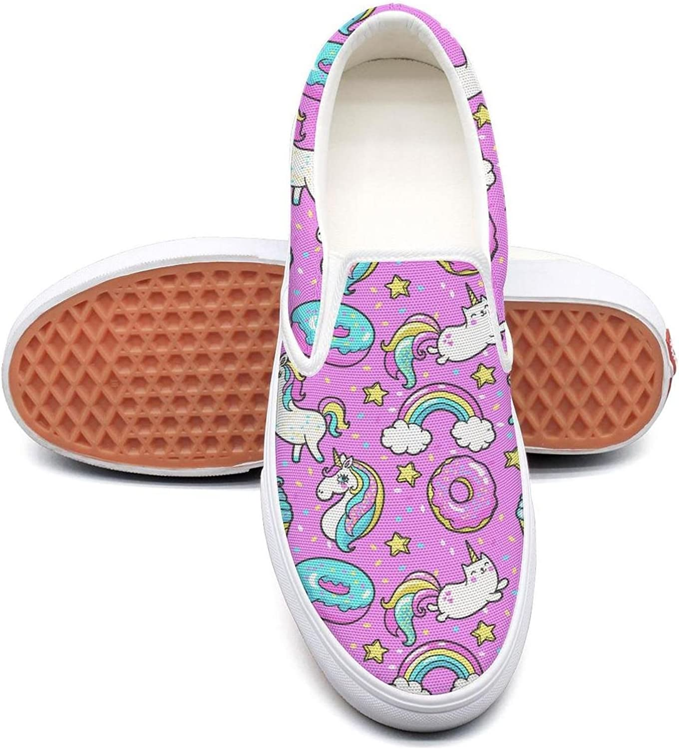 Dutte Lisa Women's Glazed Donuts and Unicorn Casual shoes Laces Low Canvas Slip on Sneakers