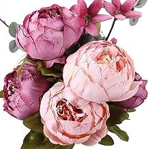 yueyue947 / Springs Flowers Ramos de peonía de Seda Artificial Decoración del hogar de la Boda, Paquete de 1 Frijol endulzado Nuevo