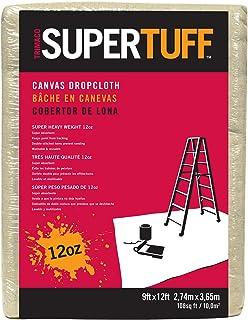 Trimaco SuperTuff 12 oz thick Premium Weight Canvas Drop Cloth, 9-feet x 12-feet