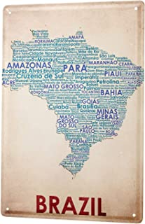 Tin Sign World Trip Map of Brazil Decorative Wall Plate 8X12