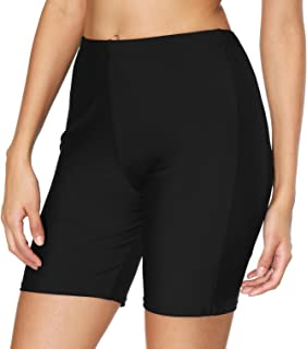 Women's Long Board Shorts High Waist Swim Bottom Solid...