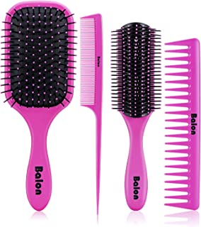 4Pcs Paddle Hair Brush, Detangling Brush and Hair Comb Set for Women and Men, Great On Wet or Dry Hair, No More Tangle Hairbrush for Long Thick Thin Curly Natural Hair (Pink)