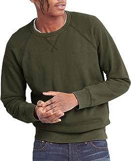 Mens French Terry Crewneck Sweatshirt Lightweight Fleece Pullover Sweater