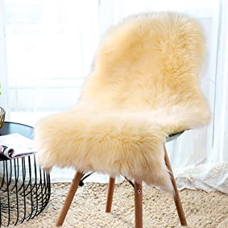 YJ.GWL Soft Beige Fluffy Faux Fur Sheepskin Area Rug for Bedroom Sofa Cover Seat Living Room Shaggy Bedside Rugs 2' x 3'
