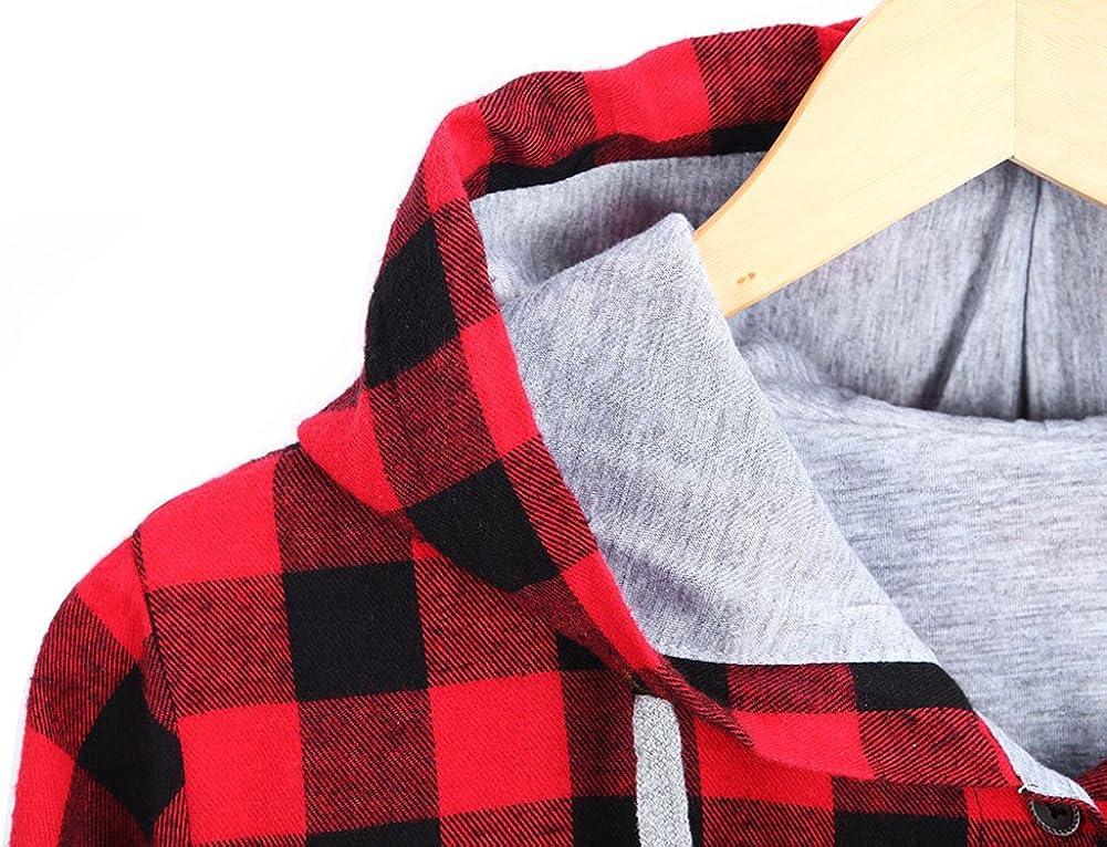 Womens Soft Casual Mid-Long Plaid Checker Pattern Hood Button Down Shirt Top