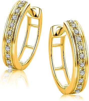Orovi Vir Jewels - Orecchini a cerchio in oro bianco e oro giallo 9 carati (375), con brillanti da 0,06 carati