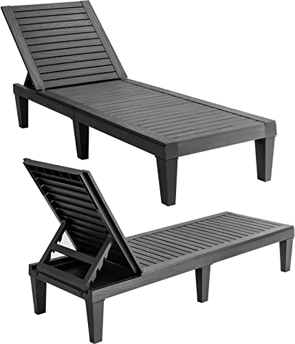 lowest Giantex Set of 2 online Outdoor Chaise Lounge Patio Recliner Chair with 5-Position outlet sale Adjustable Backrest, Weather-Proof & Rust-Resistant Chaise Lounger for Patio, Beach, Balcony, Poolside outlet online sale