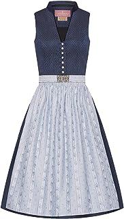 Lieblingsgwand Midi Dirndl 65 cm dunkelblau hellblau Gemustert Clara 008229 - limitiert, Retro-Dirndl, Stehkragen, hellblaue Webschürze, altsilberne Knöpfe